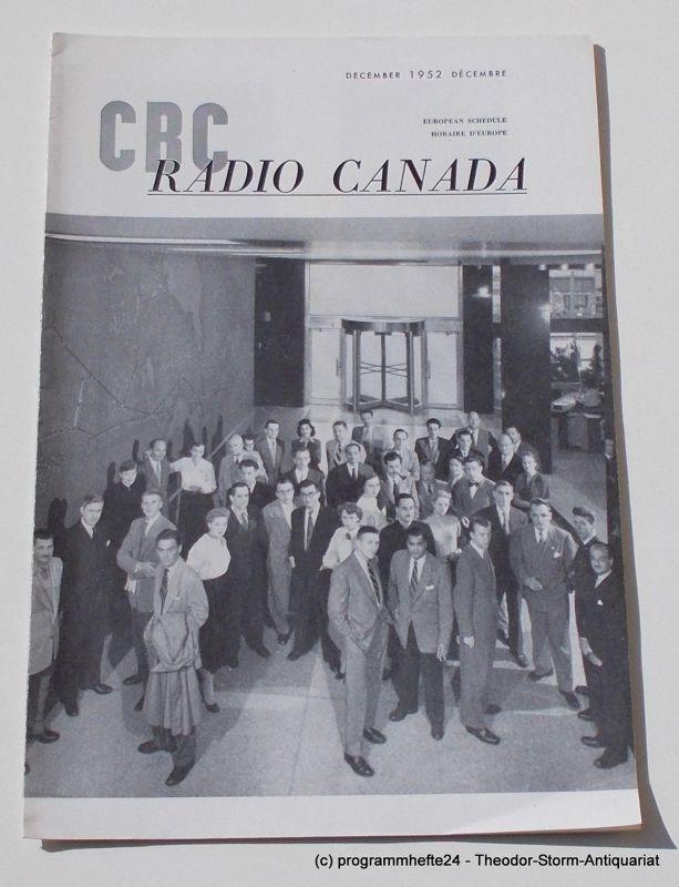 Canadian Broadcasting Corporation Programmheft CBC European Program Schedule RADIO CANADA DECEMBER 1952