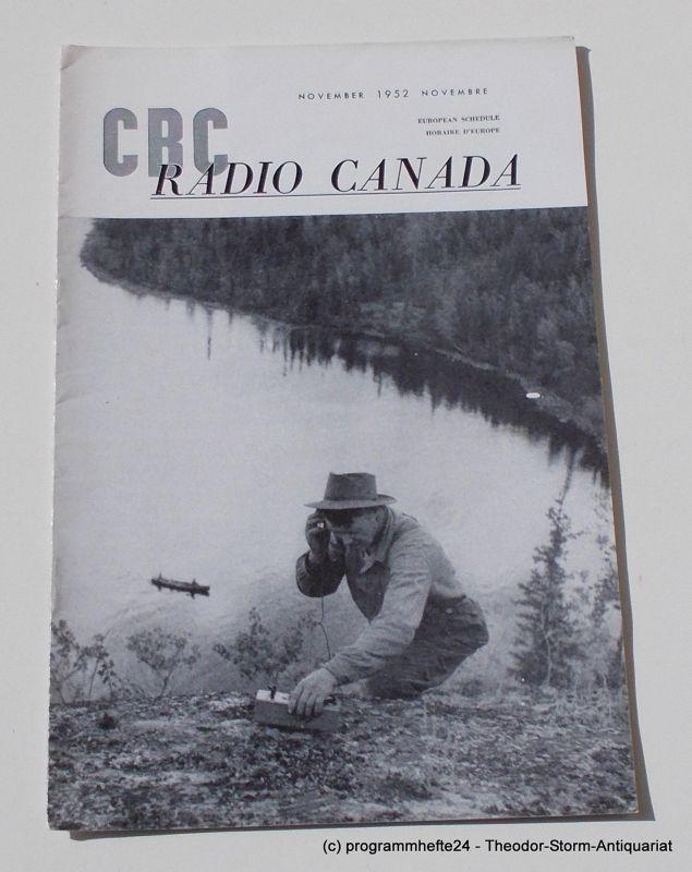 Canadian Broadcasting Corporation Programmheft CBC European Program Schedule RADIO CANADA NOVEMBER 1952