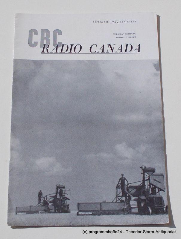 Canadian Broadcasting Corporation Programmheft CBC European Program Schedule RADIO CANADA SEPTEMBER 1952