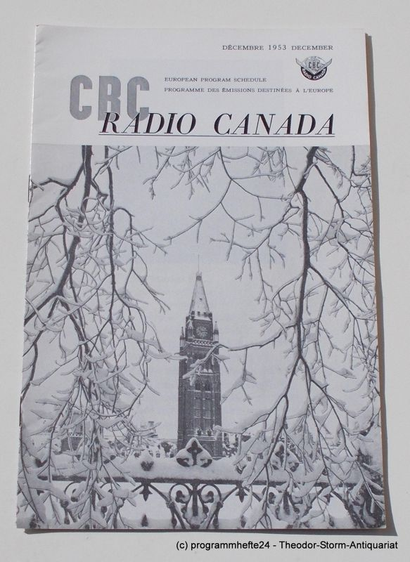 Canadian Broadcasting Corporation Programmheft CBC European Program Schedule RADIO CANADA DECEMBER 1953