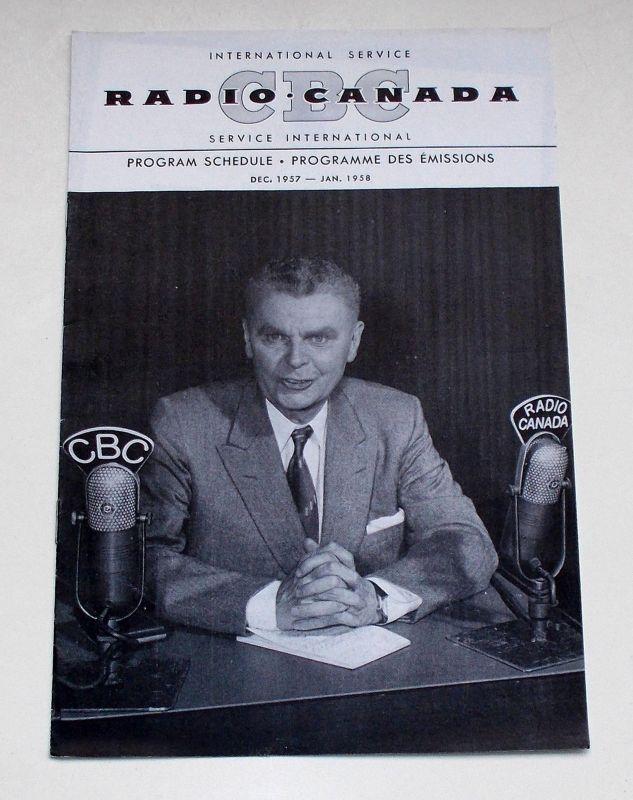 Canadian Broadcasting Corporation Programmheft CBC Radio Canada International Service. Program Schedule Dec. 1957 - Jan. 1958