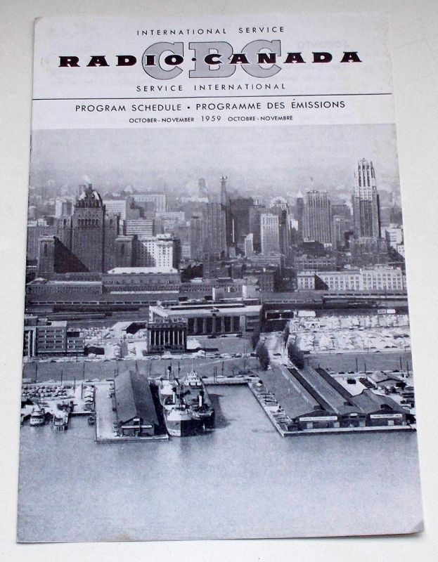 Canadian Broadcasting Corporation Programmheft CBC Radio Canada International Service. Program Schedule October - November 1959