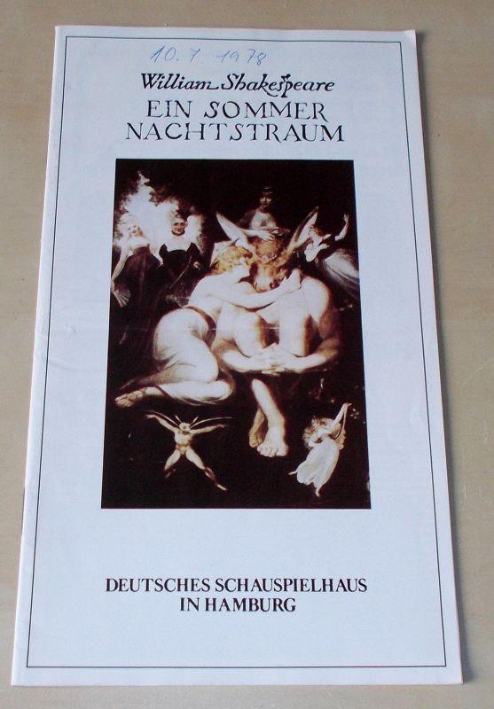 Deutsches Schauspielhaus in Hamburg, Ivan Nagel, Urs Jenny Programmheft Ein Sommernachtstraum von William Shakespeare. Premiere 12. Februar 1978