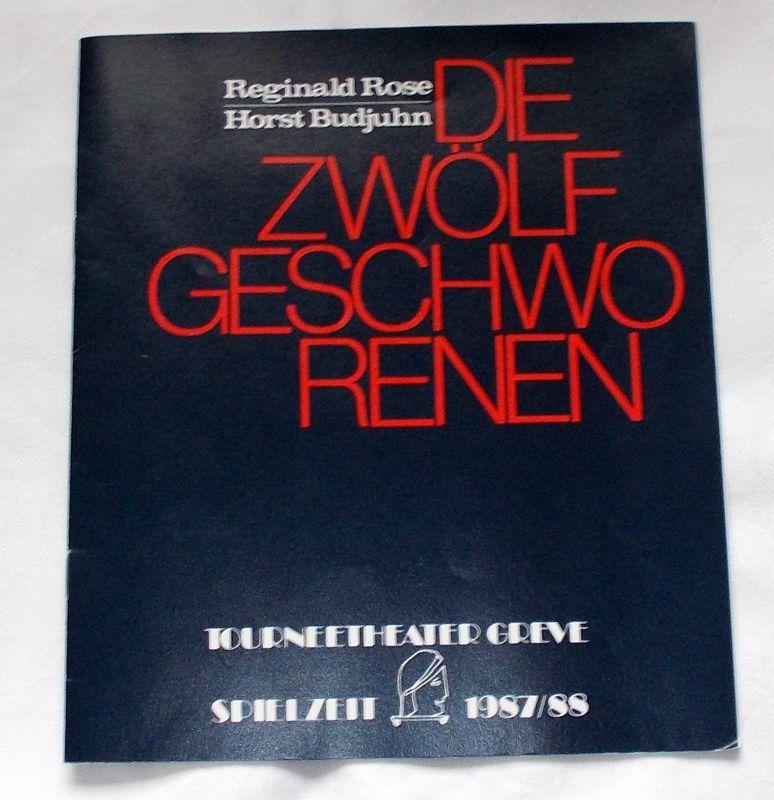 Tourneetheater Greve, Manfred Greve Programmheft Die Zwölf Geschworenen von Reginald Rose. Spielzeit 1987 / 88