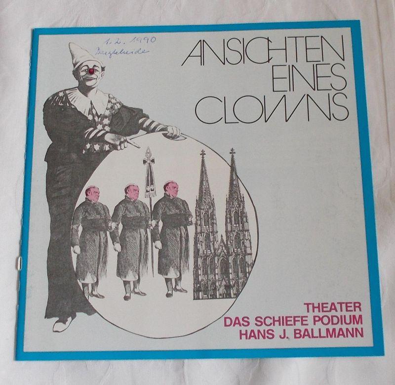 Theater Das schiefe Podium Hans J. Ballmann, Rudolf Sparing Programmheft Ansichten eines Clowns