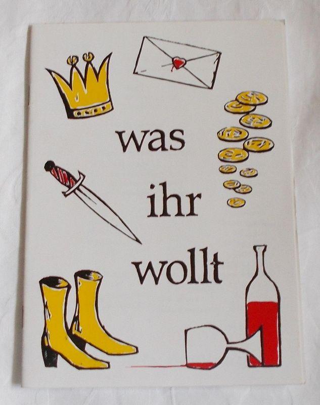 Theater N. N. Hamburg, Frank Radmacher, Claudia Simon, Dieter Seidel Programmheft Was Ihr wollt von William Shakespeare.