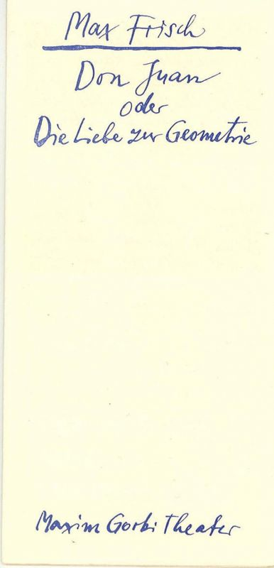 Maxim Gorki Theater, Das Kleine Theater Unter den Linden, Maxim Vallentin, Volker Pfüller Programmheft Don Juan oder Die Liebe zur Geometrie. Spielzeit 1966 / 67 Heft 2. Premiere im November 1966