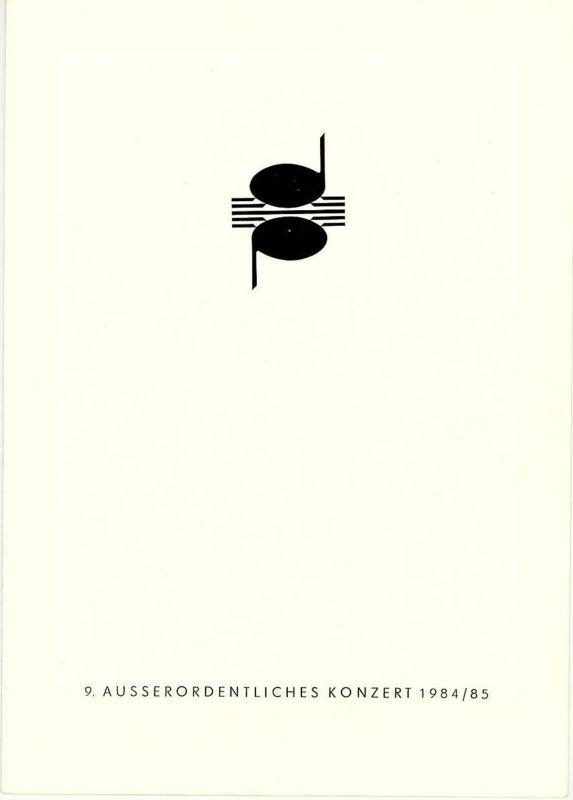 Dresdner Musikfestspiele 1985, Dresdner Philharmonie, Dieter Härtwig Programmheft 9. Ausserordentliches Konzert. Spielzeit 1984 / 85 8. und 9. Juni 1985 Festsaal des Kulturpalastes Dresden