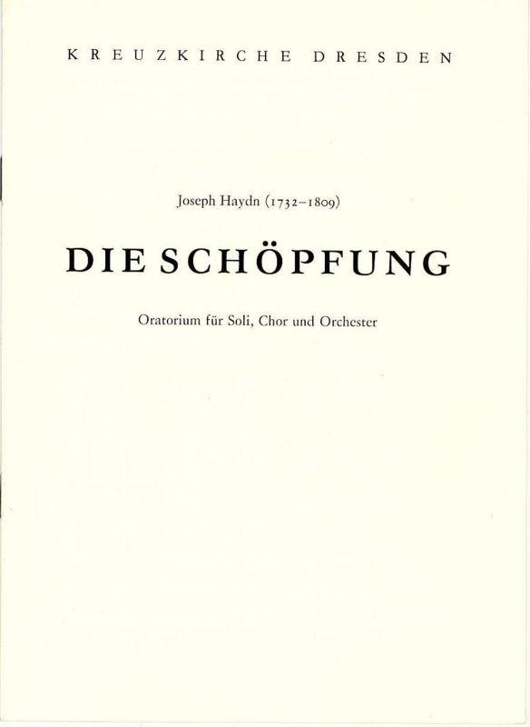 Kreuzkirche Dresden Programmheft Die Schöpfung. Oratorium von Joseph Haydn 23. Juni 1985