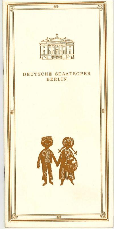 Deutsche Staatsoper Berlin DDR, Werner Otto, Werner Klemke Programmheft Hänsel und Gretel. Sonntag, den 20. Januar 1974