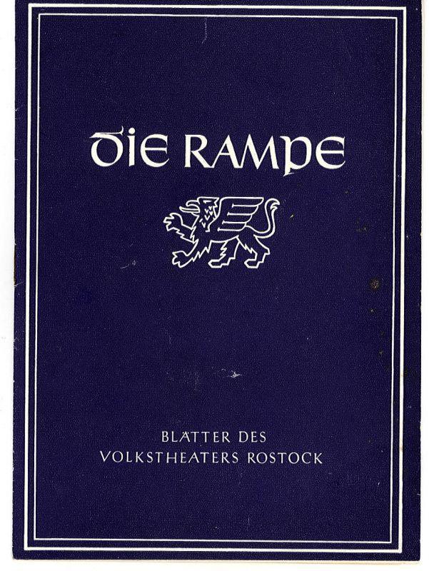 Volkstheater Rostock, Hans Fetting Programmheft Der Fliegende Holländer. Spielzeit 1955 / 56 Die Rampe Nr. 7