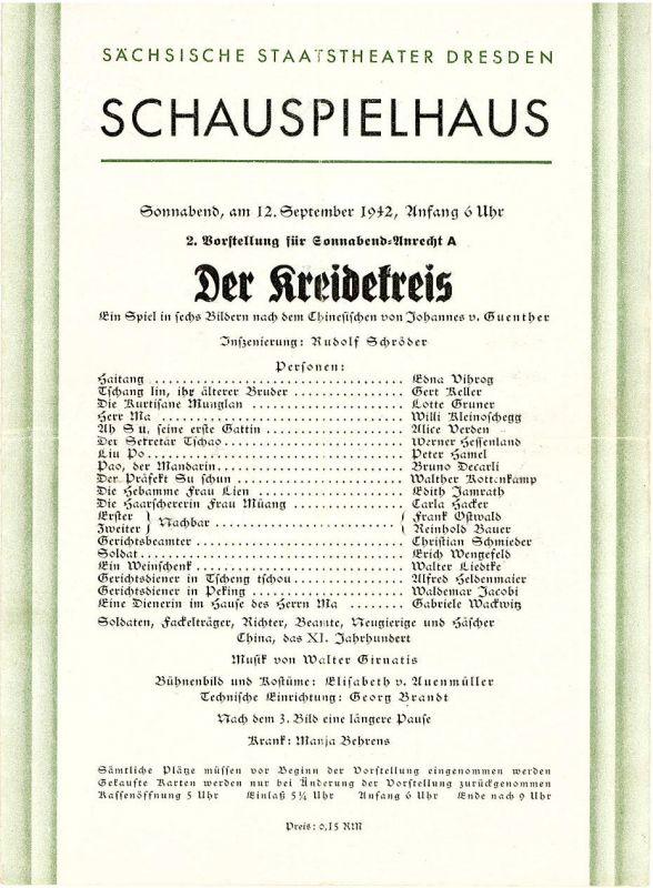 Sächsische Staatstheater Dresden, Schauspielhaus Programmheft Der Kreidekreis. 12. September 1942