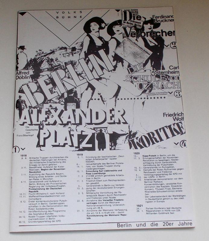 Volksbühne Berlin, Fritz Rödel, Werner Heinitz Programmheft Berlin Alexanderplatz von Alfred Döblin. Spielzeit 1981 / 82. Neufassung 1988
