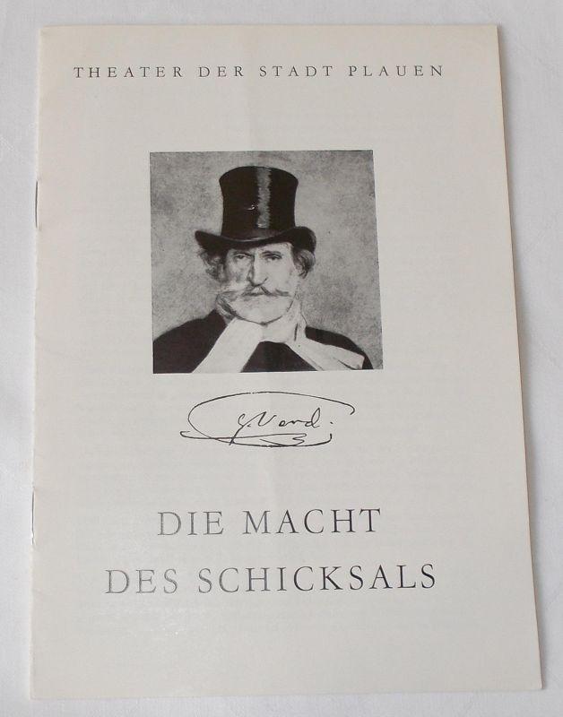 Theater der Stadt Plauen, Werner Friede, Eva Kühnel Programmheft Die Macht des Schicksals. Premiere 1.4.1984 Spielzeit 1983 / 84 Heft Nr. 9