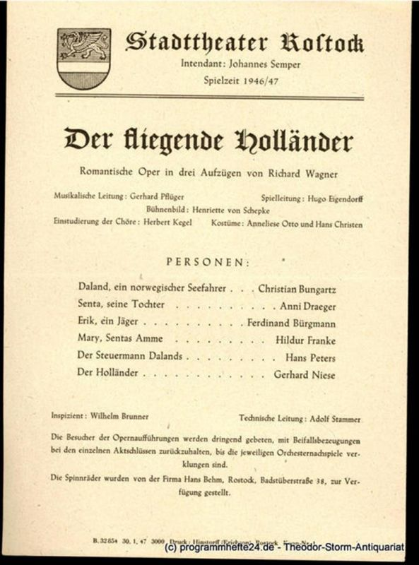 Stadttheater Rostock, Johannes Semper Theaterzettel Der fliegende Holländer. Romantische Oper von Richard Wagner. Spielzeit 1946 / 47