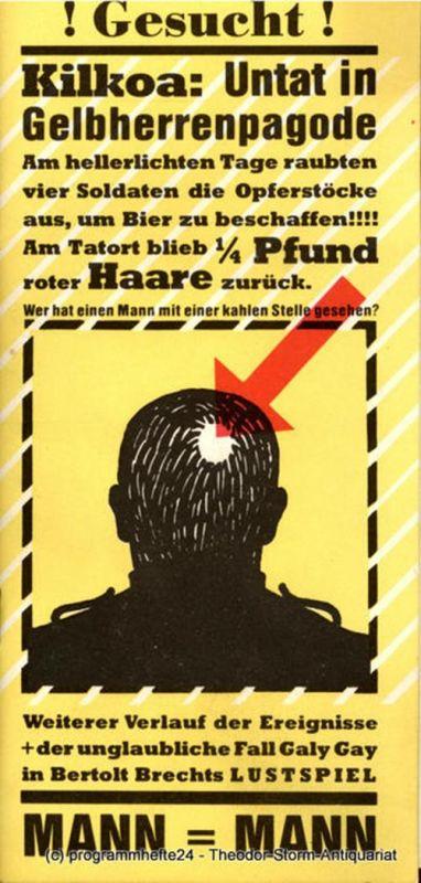 Berliner Ensemble, Staatstheater der Deutschen Demokratischen Republik, Manfred Wekwerth, Thomas Wieck, Karl-Heinz Drescher Programmheft Mann ist Mann. Lustspiel von Bertolt Brecht. Premiere 27. Februar 1981