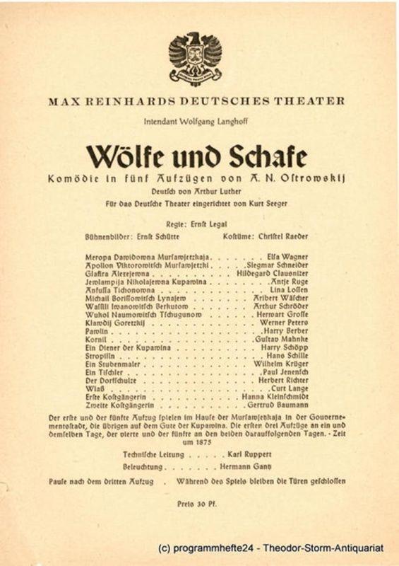 Max Reinhards Deutsches Theater, Wolfgang Langhoff Theaterzettel Wölfe und Schafe. Komödie von A.N. Ostrowskij