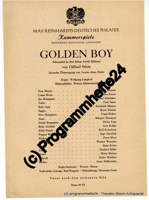 Max Reinhardts Deutsches Theater, Kammerspiele, Intendant Wolfgang Langhoff Theaterzettel GOLDEN BOY. Schauspiel von Clifford Odets
