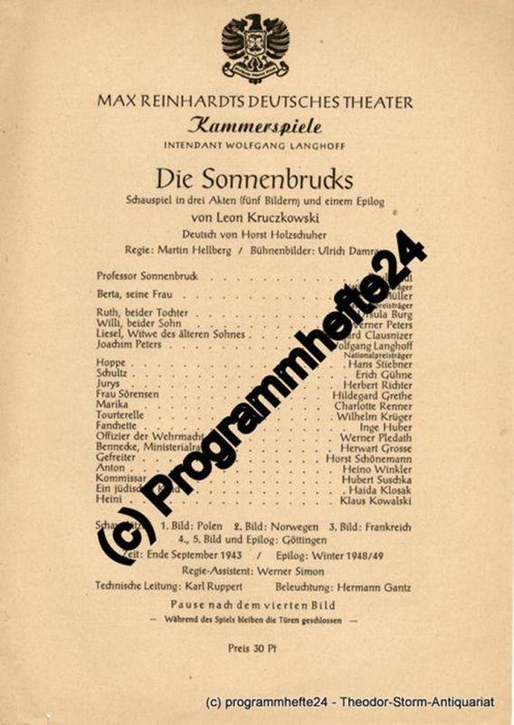 Max Reinhardts Deutsches Theater, Kammerspiele, Intendant Wolfgang Langhoff Theaterzettel Die Sonnenbrucks von Leon Kruczkowski