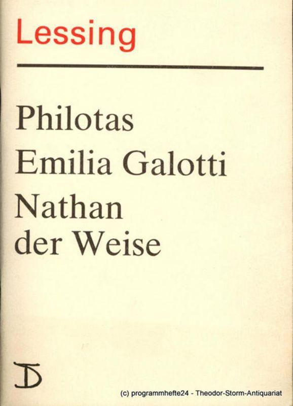 Deutsches Theater, Staatstheater der DDR, Dieter Mann, Hans Nadolny, Hans-Martin Rahner Programmheft Lessing: PHILOTAS / EMILIA GALOTTI / NATHAN DER WEISE. Premieren 5., 6. und 7. Oktober 1987