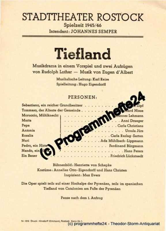 Stadttheater Rostock, Johannes Semper Theaterzettel TIEFLAND. Spielzeit 1945 / 46