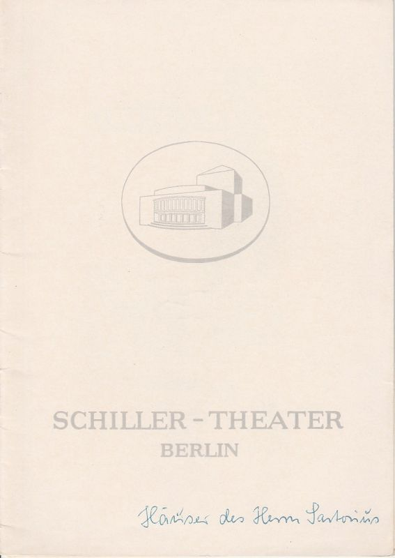 Schiller Theater Berlin, Boleslaw Barlog, Albert Beßler Programmheft Die Häuser des Herrn Sartorius ( Heuchler ) Spielzeit 1960 / 61 Heft 105
