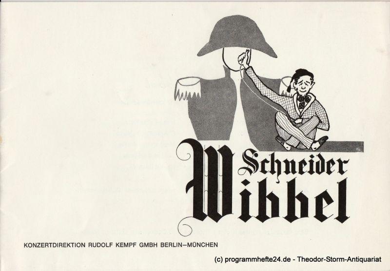 Konzertdirektion Rudolf Kempf, Kleines Theater Bad Godesberg Programmheft Schneider Wibbel. Komödie von Hans Müller-Schlösser