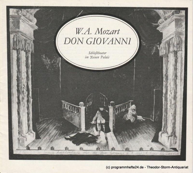 Hans-Otto-Theater Potsdam, Schloßtheater im Neuen Palais, Gero Hammer, Hans Dieter Arnold Programmheft Don Giovanni. Premiere 30. Oktober 1977. Programmheft Nr. 4-77/78 1. Nachdruck 1979