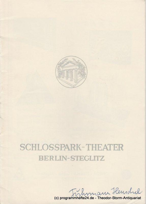 Schlosspark – Theater Berlin-Steglitz, Boleslaw Barlog Programmheft Fuhrmann Henschel. Schauspiel von Gerhart Hauptmann. Spielzeit 1957 / 58 Heft 70