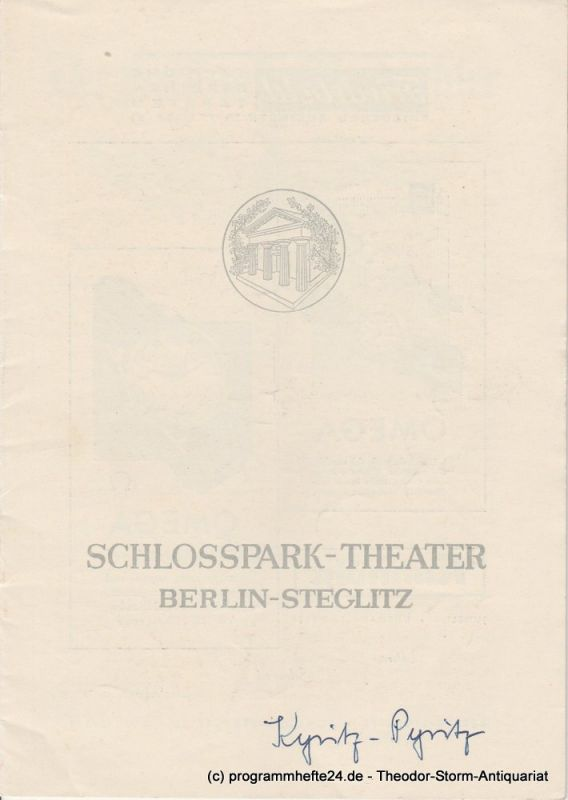 Schlosspark – Theater Berlin-Steglitz, Boleslaw Barlog Programmheft Kyritz Pyritz. Spielzeit 1954 / 55 Heft 36