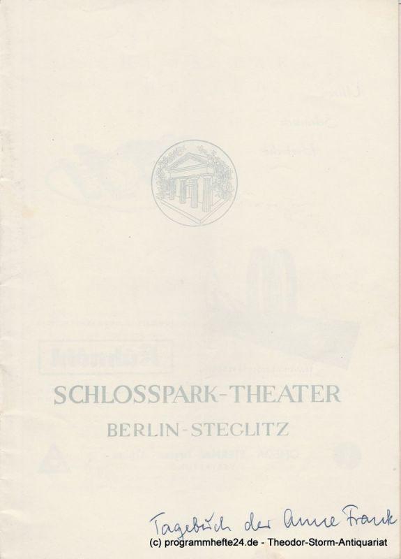 Schlosspark – Theater Berlin-Steglitz, Boleslaw Barlog Programmheft Das Tagebuch der Anne Frank. Spielzeit 1956 / 57 Heft 57