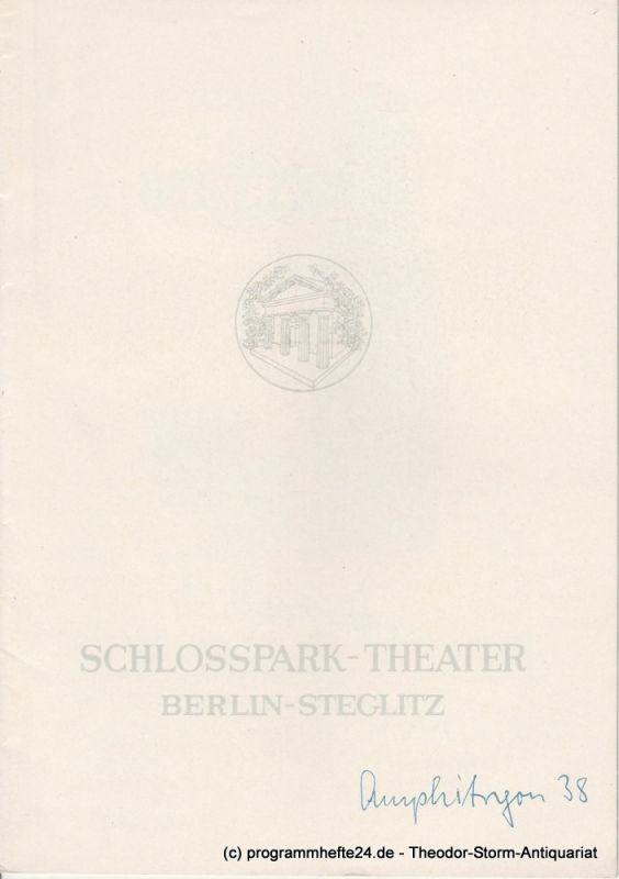 Schlosspark – Theater Berlin-Steglitz, Boleslaw Barlog Programmheft Amphitryon 38. Komödie von Jean Giraudoux. Spielzeit 1961 / 62 Heft 102