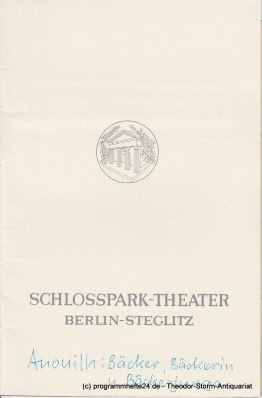 Schlosspark – Theater Berlin-Steglitz, Boleslaw Barlog Programmheft Bäcker, Bäckerin und Bäckerjunge. Spielzeit 1968 / 69