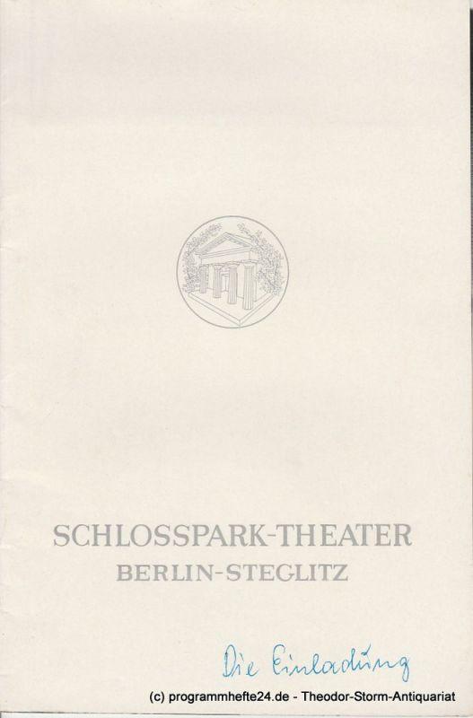 Schlosspark – Theater Berlin-Steglitz, Boleslaw Barlog Programmheft Die Einladung. Schauspiel von Jochen Ziem. Spielzeit 1966 / 67