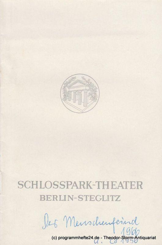 Schlosspark – Theater Berlin-Steglitz, Boleslaw Barlog Programmheft Der Menschenfeind oder Der verliebte Melancholiker von Moliere. Spielzeit 1966 / 67