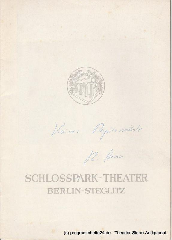Schlosspark Theater Berlin-Steglitz, Boleslaw Barlog, Albert Beßler Programmheft Papiermühle. Lustspiel von Georg Kaiser Spielzeit 1958 / 59 Heft 75