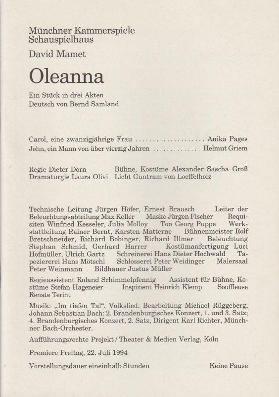 Münchner Kammerspiele, Schauspielhaus, Dieter Dorn, Michael Huthmann, Laura Olivi Programmheft Oleanna. Stück von David Mamet. Premiere 22. Juli 1994