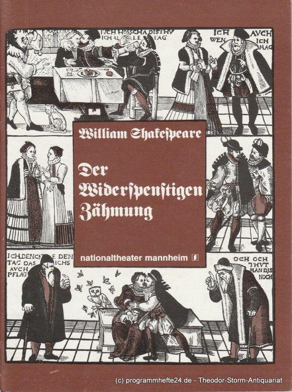 Nationaltheater Mannheim, Arnold Petersen, Rainer Mennicken Programmheft Der Widerspenstigen Zähmung. Premiere der Neuinszenierung 30.1.1978