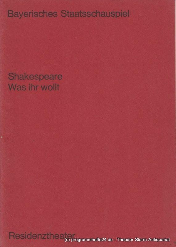 Bayerisches Staatsschauspiel, Residenztheater Programmheft Was Ihr wollt von William Shakespeare. Premiere 18. Januar 1970