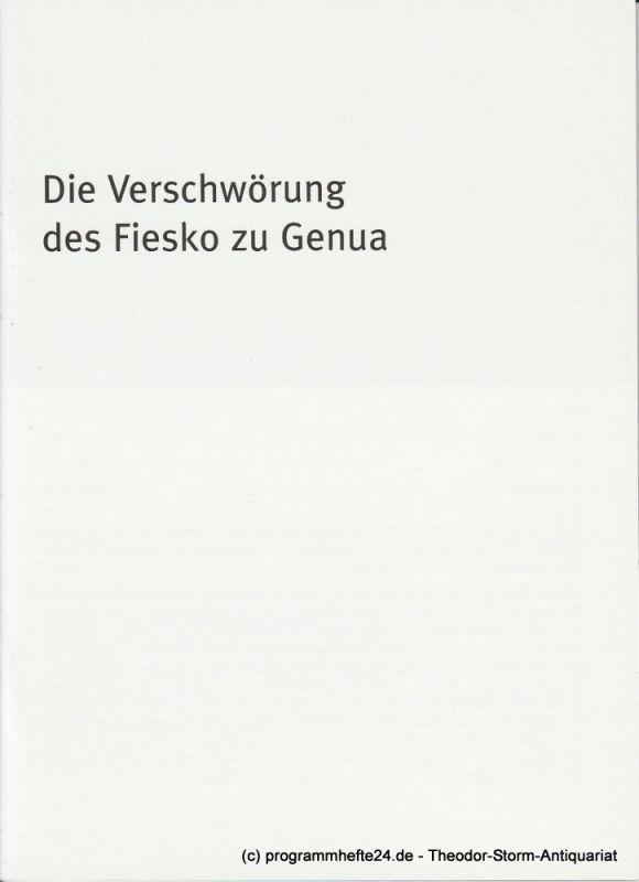 Bayerisches Staatsschauspiel, Dieter Dorn, Hans-Joachim Ruckhäberle, Georg Holzer Programmheft Die Verschwörung des Fiesko zu Genua Premiere 18. Oktober 2008 Residenz Theater Spielzeit 2008 / 09 Heft Nr. 109