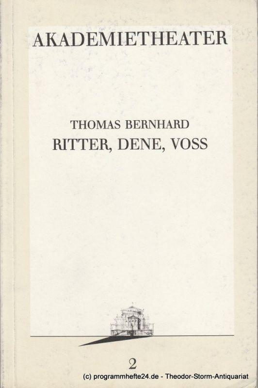 Burgtheater, Akademietheater, Vera Sturm Programmheft Ritter, Dene, Voss. Premiere 4. September 1986. Programmbuch 2