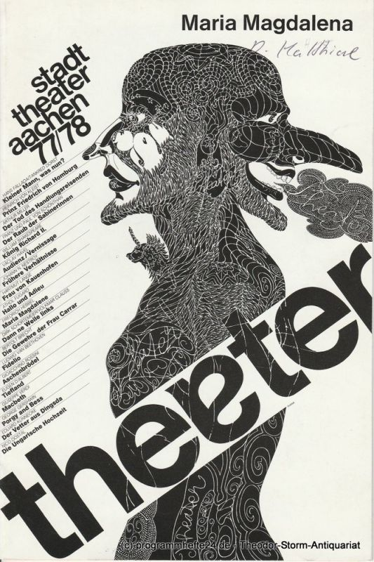 Stadttheater Aachen, Peter Maßmann Programmheft Maria Magdalena Premiere 12. Februar 1978 Spielzeit 1977 / 78 Heft 15
