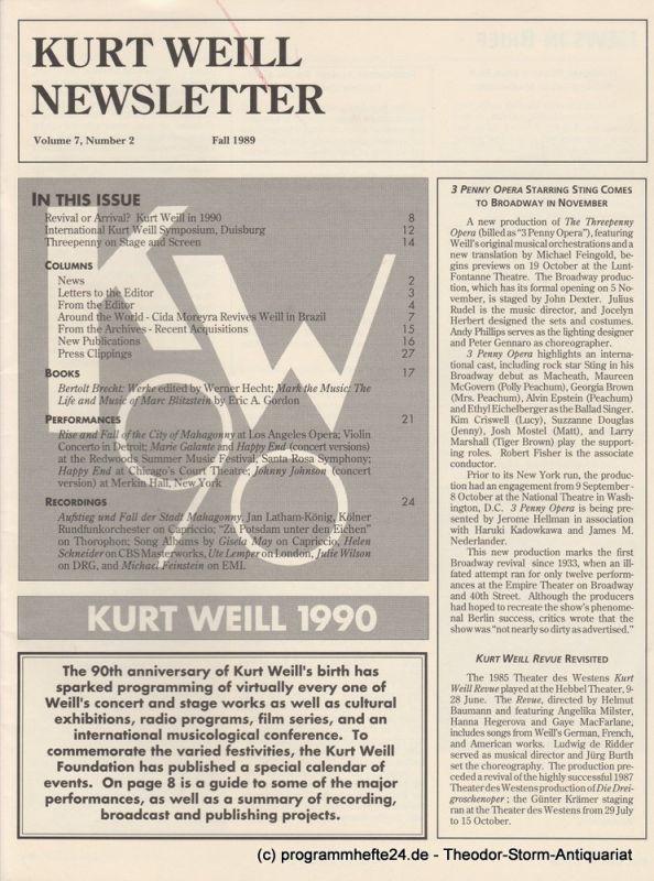 Kurt Weill Foundation, David Farneth, Mario R. Mercado Kurt Weill Newsletter Volume 7, Number 2 Fall 1989
