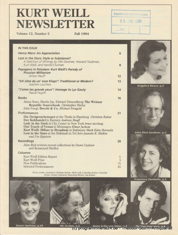 Kurt Weill Foundation, David Farneth, Mario R. Mercado Kurt Weill Newsletter Volume 12, Number 2 Fall 1994