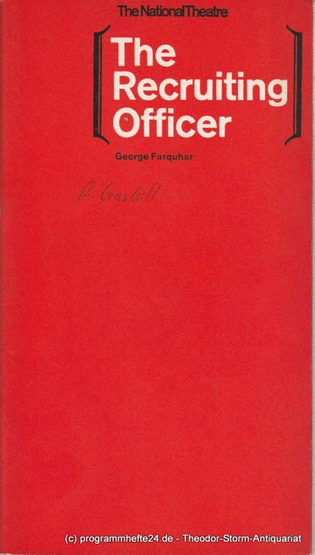 The National Theatre London, Laurence Olivier, Kenneth Briggs Programmheft The Recruiting Officer by George Farquhar First Season. 1963