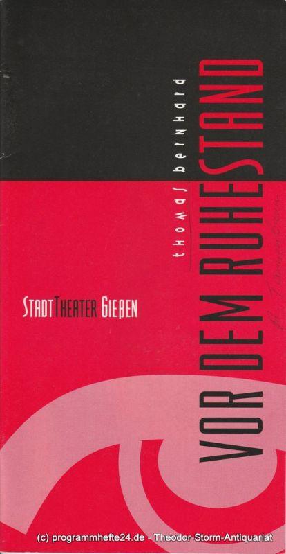 Stadttheater Gießem, Robert Tannenbaum, Anja Eisner Programmheft Vor dem Ruhestand. Premiere 11. November 1995 Spielzeit 1995 / 96 Heft 5