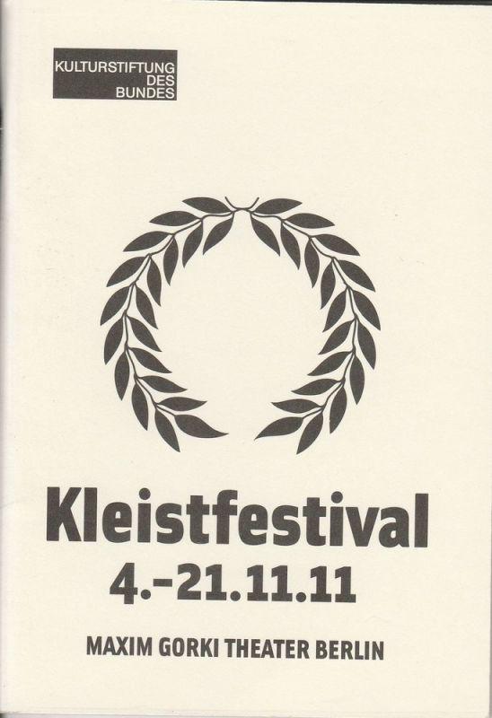 Maxim Gorki Theater Berlin, Armin Petras, Anna Busdiecker, Selma Serman, Katja Strempel Programmheft Kleistfestival 4.-21.11.11