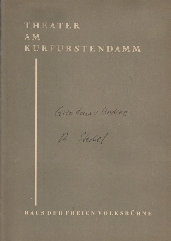 Theater am Kurfürstendamm, Heinz Köster ( Fotos ) Programmheft UNDINE. Berliner Festwochen 1959 Spielzeit 1959 / 1960