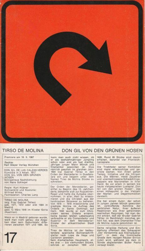 Theater der Freien Hansestadt Bremen, Kurt Hübner Programmheft Don Gil von den grünen Hosen von Tirso de Molina. Premiere 18.5.1967