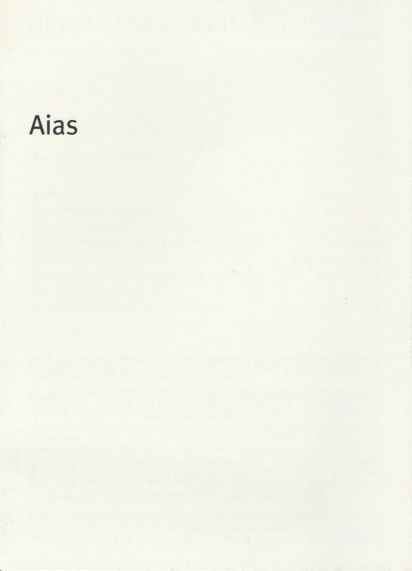 Bayerisches Staatsschauspiel, Dieter Dorn, Hans-Joachim Ruckhäberle, Andrea Vilter Programmheft Sophokles: AIAS. Premiere 25. Mai 2005 im Theater im Haus der Kunst Spielzeit 2004 / 2005 Heft Nr. 65